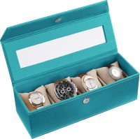 Ecoleatherette Handcrafted Watch Box(Sea Green, Holds 4 Watches)