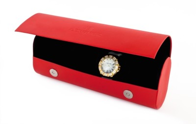 D,Signer Red Watch Organisor Watch Box(Red, Holds 4 Watches)