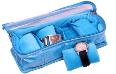 Kuber Industries Watch Cover In Velvet Four Roll Watch Box