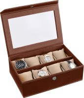Ecoleatherette Handcrafted Watch Box(Dark Brown Holds 8 Watches)