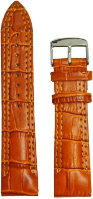 Like Croco Half padded Double Stitched 22 mm Leather Watch Strap