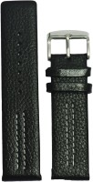 Kolet Parallel Dotted 20 mm Leather Watch Strap(Black)