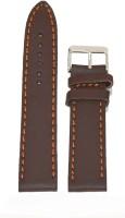 Kolet Plain 20 mm Leather Watch Strap(Brown)
