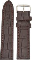 Kolet Croco Matte Finish 22 mm Leather Watch Strap(Brown)