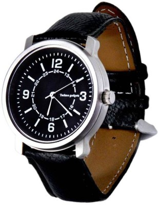Techno Gadgets Watch 002 25 mm Leather Watch Strap(Black)