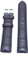 Kolet Padded Croco 24 mm Leather Watch Strap(Black)