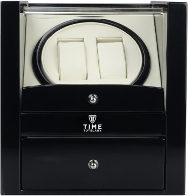 Time Tutelary Glossy Black Dual Watch Winder With Storage Automatic 2 Watch Winder(Black)
