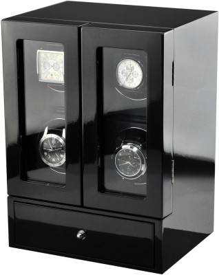 Time Tutelary Glossy Black Quad Luxury Watch Winder Automatic 4 Watch Winder(Black)