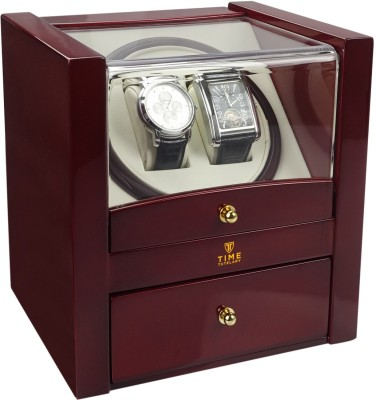 Time Tutelary Glossy Red Dual Watch Winder With Storage Automatic 2 Watch Winder(Red)