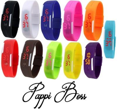 Pappi Boss Combo Offer Set of 11 Unisex Silicone Led Bracelet Band Digital Watch - For Boys, Men, Girls, Women