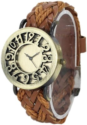KMS LightBrown_Leather_Vintage Analog Watch  - For Women, Girls