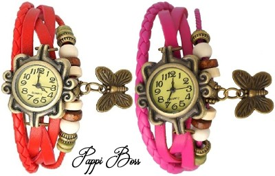 Pappi Boss Set Of 2 Combo Vintage Leather Red & Pink Butterfly Bracelet Analog Watch  - For Women, Girls