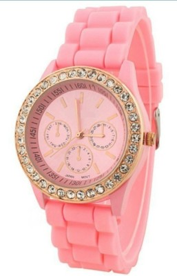 Zillion Diamond Bezel Pink Silicone Strap Analog Watch  - For Girls, Women