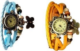 NS18 Vintage Butterfly Rakhi Watch Combo of 2 Sky Blue And Yellow Analog Watch - For Women