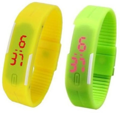 i-gadgets silicon yellow and green led Digital Watch  - For Boys, Men