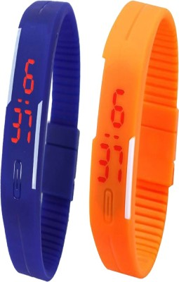 Opulent Combo of Led Band Blue + Orange Digital Watch  - For Boys, Couple, Girls, Men, Women