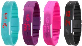 NS18 Silicone Led Magnet Band Combo of 4 Sky Blue, Purple, Pink And Black Digital Watch - For Boys & Girls