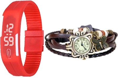 MIFY Attractive Pack of 2 LED & butterfly RD_(V)BWN Analog-Digital Watch  - For Boys, Girls, Men, Women