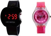 COSMIC COMBO OF 2 KIDS WATCH -BLACK APPLE LED WATCH +DARK PINK SPARKLING KIDS WATCH Analog-Digital Watch  - For Girls