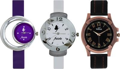 Frida Designer VOLGA Beautiful New Branded Type Watches Men and Women Combo720 VOLGA Band Analog Watch  - For Couple