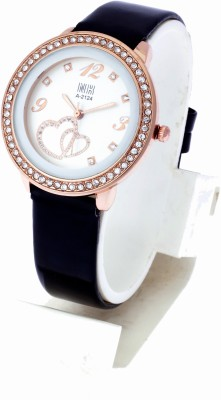 KMS Leather_HeartPrint_Dial_Black Analog Watch  - For Women, Girls
