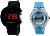 COSMIC COMBO OF 2 KIDS WATCH -BLACK APPLE LED WATCH +BLUE SPARKLING KIDS WATCH Analog-Digital Watch  - For Boys & Girls
