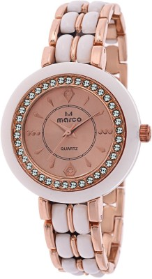 Marco MR-LR086-GLD-WHT GLOSSY Analog Watch  - For Women