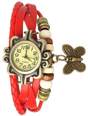 Pappi Boss Red Leather Bracelet Butterfly Analog Watch  - For Girls, Women