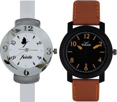Frida Designer VOLGA Beautiful New Branded Type Watches Men and Women Combo198 VOLGA Band Analog Watch  - For Couple