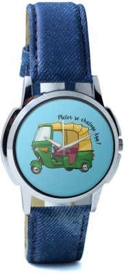 PosterGuy Meter Se Chaloge Kya? Quirky Auto Rikhshaw -1013848326-RS1-W-BLU Analog Watch  - For Men