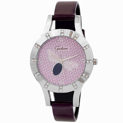 Gesture Gesture Elegant 1013-PR Diamond Studded Butterfly Watch Analog Watch  - For Women