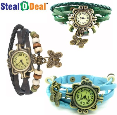 Stealodeal Set of Vintage Antique Retro Style Butterfly Analog Watch  - For Boys, Couple, Girls, Men, Women