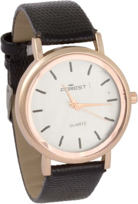 Forest Addic Solid Black Plain White Dial (28) Analog Watch  - For Women