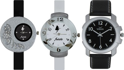 Frida Designer VOLGA Beautiful New Branded Type Watches Men and Women Combo399 VOLGA Band Analog Watch  - For Couple