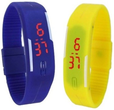 3wish LED RUBBER MAGNET BLUE YELLOW Digital Watch  - For Men & Women
