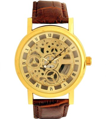 Fancy Open Dial Leather Brown Analog Watch  - For Boys, Men