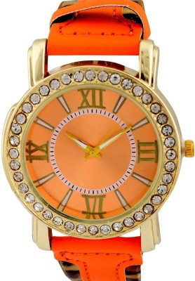 Genevaa Fashion Perfect Orange Dial Leopard Print Strap Designer Analog Watch  - For Girls, Women
