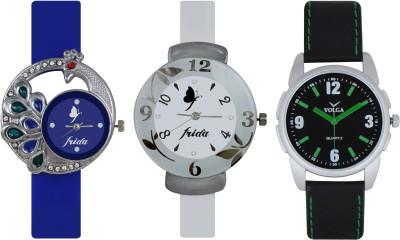 Frida Designer VOLGA Beautiful New Branded Type Watches Men and Women Combo538 VOLGA Band Analog Watch  - For Couple