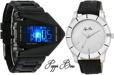 Pappi Boss Pack of 2 LED Aircraft Model with light & Passionate Sober White Dial Leather Strap Casual Analog-Digital Watch  - For Boys, Men