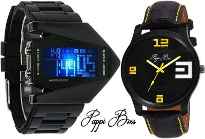 Pappi Boss Pack of 2 LED Aircraft Model with light & Passionate Stylish Black Dial Leather Strap Casual Analog-Digital Watch  - For Boys, Men