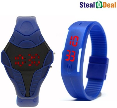 Stealodeal Blue Cobra Shape and Digital Led Digital Watch  - For Men, Girls, Boys