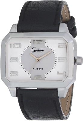 Gesture Gesture Antique White-Silver Rectangular Watch Antique Analog Watch  - For Men