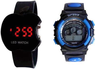 COSMIC LIGHT BLUE DUAL TIME S SHOCK AND BLACK APPLE LED WATCH FOR BOYS AND MEN Analog Digital Watch    For Boys available at Flipkart for Rs.440