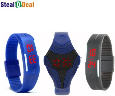 Stealodeal Cobra Shape and Grey Blue Digital Led Digital Watch    For Men, Girls, Boys available at Flipkart for Rs.299