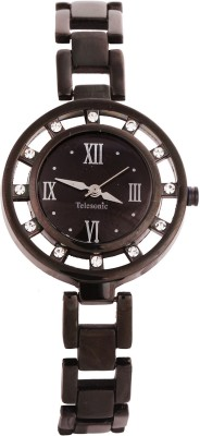 Telesonic T012X-02 (Black) Magestic Crown Analog Watch  - For Women