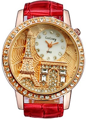 Gogoey Diamond Studed Golden Eiffel Tower Analog Watch  - For Women