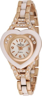 Swisstyle SS-LR003A-WHT-WGCH Bejewel Analog Watch  - For Women
