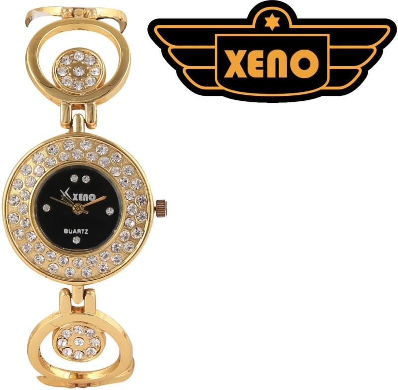 Xeno GN416 Golden Metal Chain Black Diamond Studded Dial Unique A