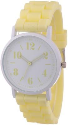 Zillion Trendy White Case Vanilla Yellow Silicone Strap Analog Watch  - For Women, Girls