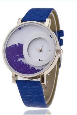 Zillion Mxre Moving Diamond Blue Strap Analog Watch  - For Women, Girls